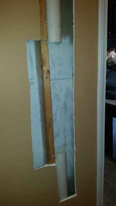 Mold damaged drywall after removal and treatment in Louisville KY