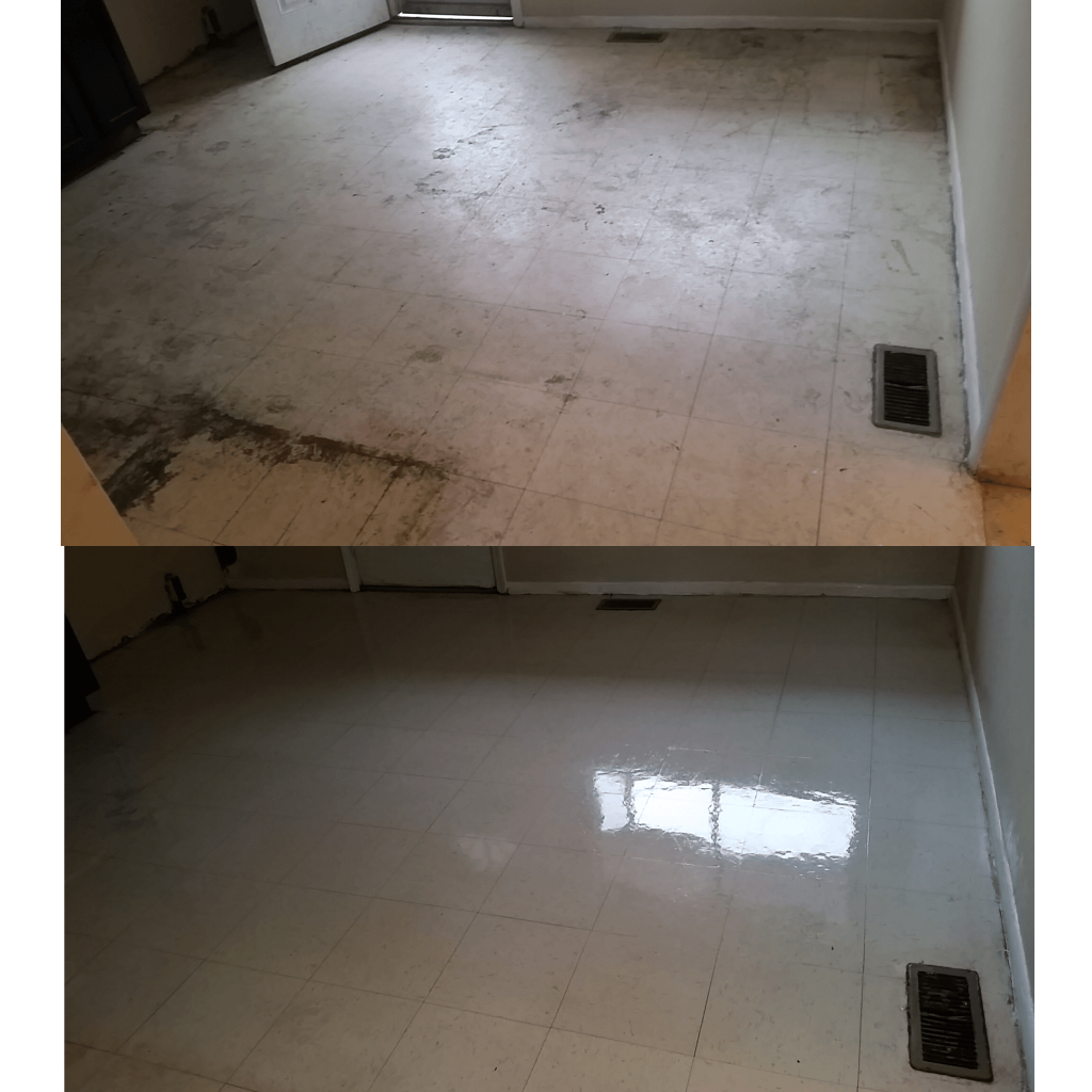 dramatic before and after picture of tile refinishing or tile stripping and waxing in louisville, ky